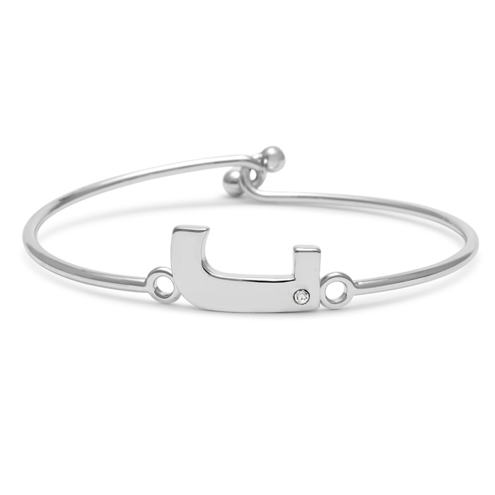 """J"" Initial Bangle Bracelet w/ Cubic Zirconia Accent, 7 Inch by S"