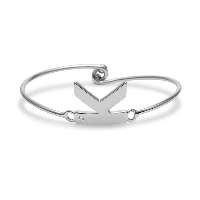 """K"" Initial Bangle Bracelet w/ Cubic Zirconia Accent, 7 Inch by S"