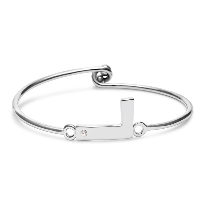 """L"" Initial Bangle Bracelet w/ Cubic Zirconia Accent, 7 Inch by S"