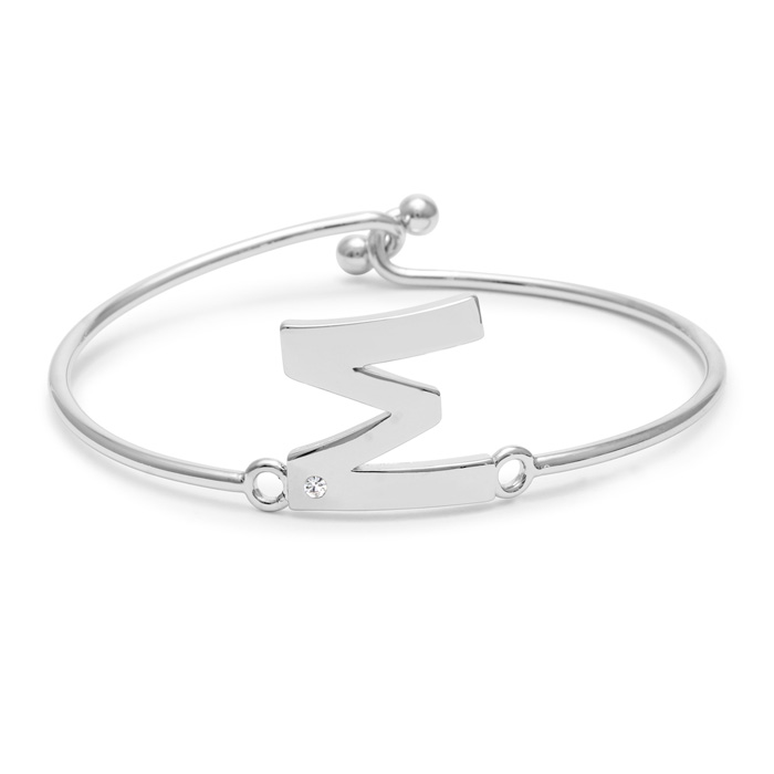 """M"" Initial Bangle Bracelet w/ Cubic Zirconia Accent, 7 Inch by S"