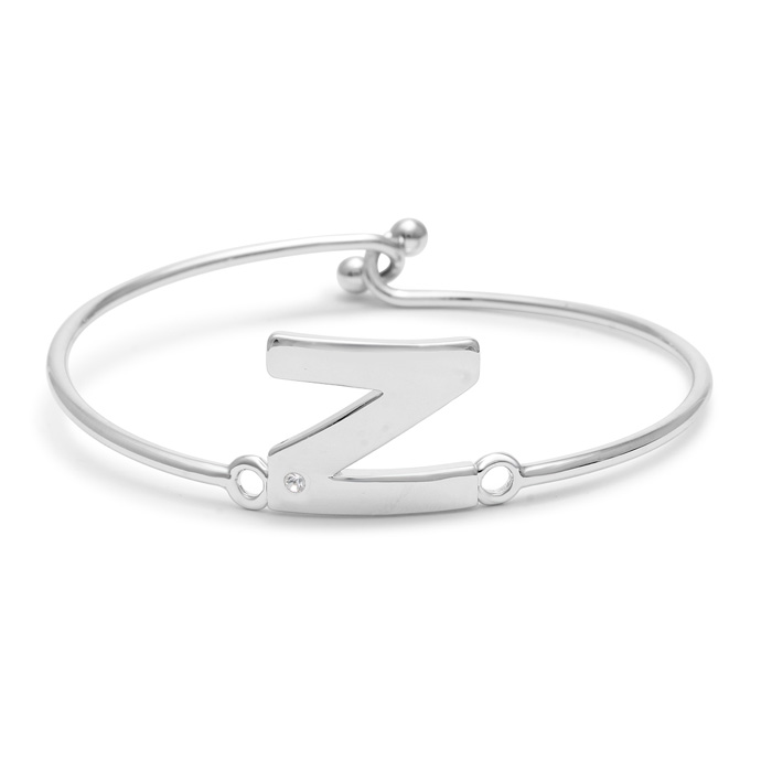 """N"" Initial Bangle Bracelet w/ Cubic Zirconia Accent, 7 Inch by S"