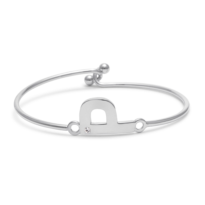 """P"" Initial Bangle Bracelet w/ Cubic Zirconia Accent, 7 Inch by S"