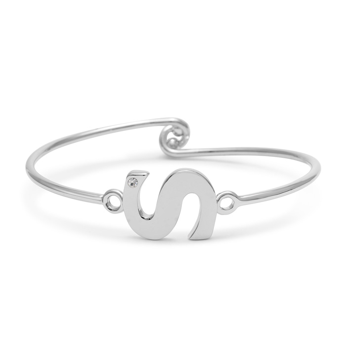 """S"" Initial Bangle Bracelet w/ Cubic Zirconia Accent, 7 Inch by S"