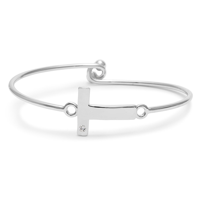 """T"" Initial Bangle Bracelet w/ Cubic Zirconia Accent, 7 Inch by S"
