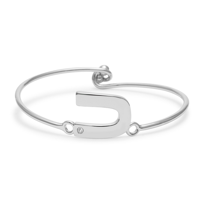 """U"" Initial Bangle Bracelet w/ Cubic Zirconia Accent, 7 Inch by SuperJeweler"
