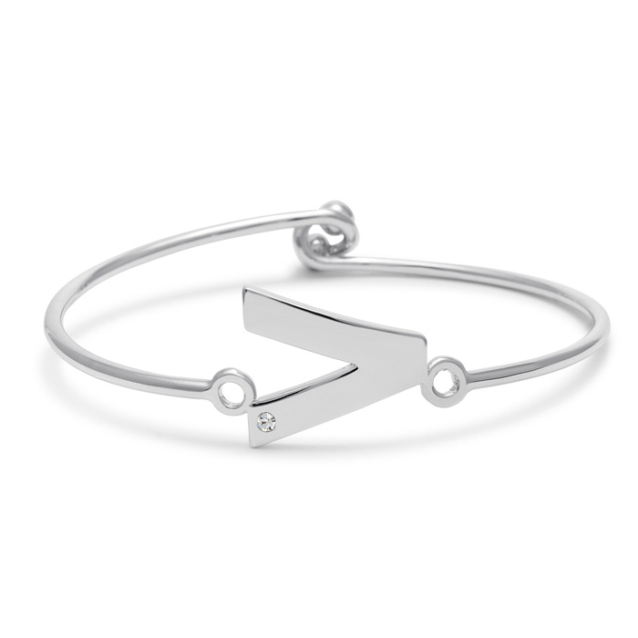 """""""V"""" Initial Bangle Bracelet w/ Cubic Zirconia Accent, 7 Inch by SuperJeweler"""