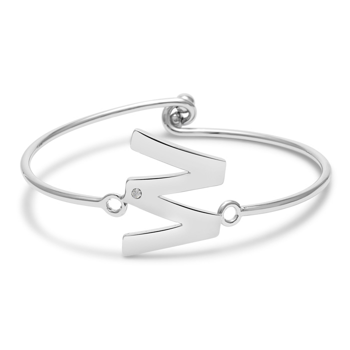 """W"" Initial Bangle Bracelet w/ Cubic Zirconia Accent, 7 Inch by S"