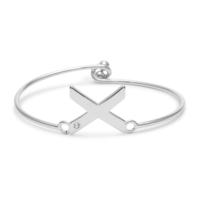 """X"" Initial Bangle Bracelet w/ Cubic Zirconia Accent, 7 Inch by S"