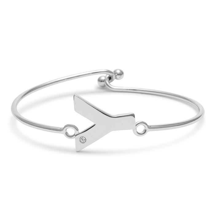 """Y"" Initial Bangle Bracelet w/ Cubic Zirconia Accent, 7 Inch by S"
