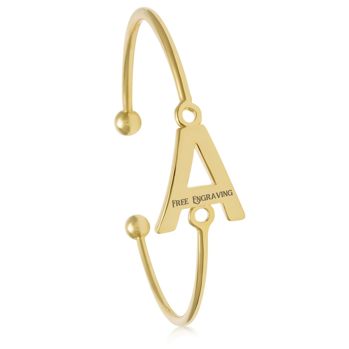 "FREE ENGRAVING ""A"" Initial Bangle Bracelet in Yellow Gold, 7 Inch"