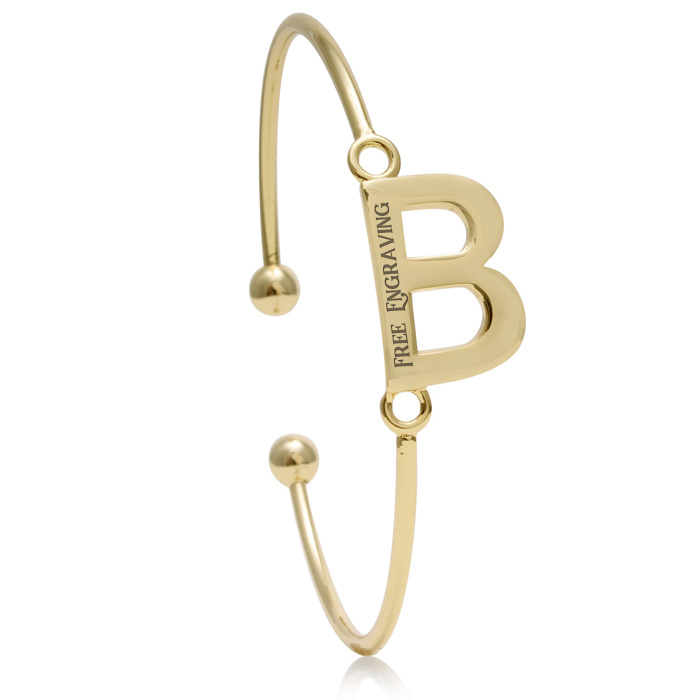 "FREE ENGRAVING ""B"" Initial Bangle Bracelet in Yellow Gold, 7 Inch"