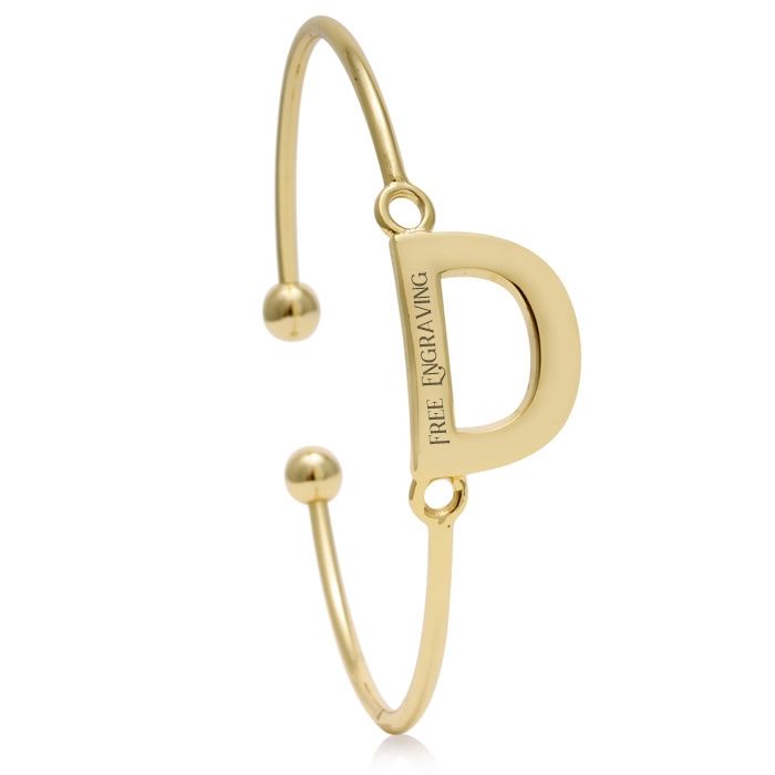 "FREE ENGRAVING ""D"" Initial Bangle Bracelet in Yellow Gold, 7 Inch"