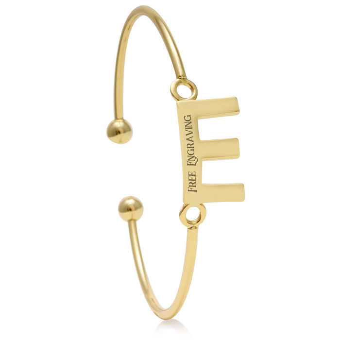 "FREE ENGRAVING ""E"" Initial Bangle Bracelet in Yellow Gold, 7 Inch"