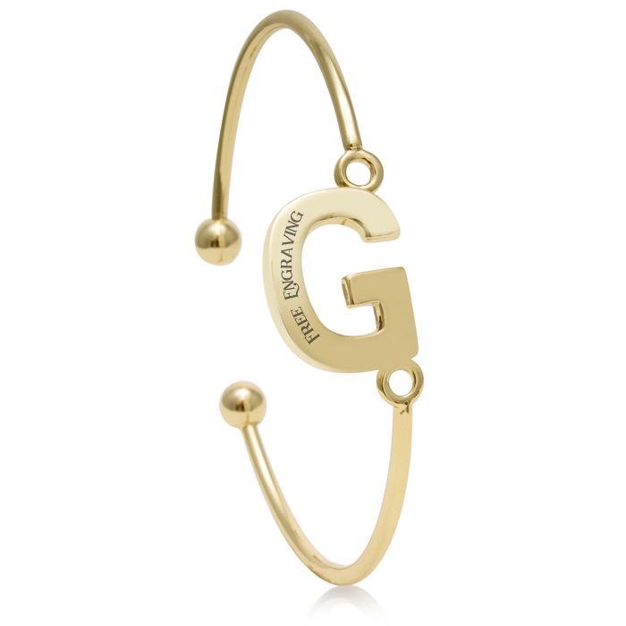 "FREE ENGRAVING ""G"" Initial Bangle Bracelet in Yellow Gold, 7 Inch"