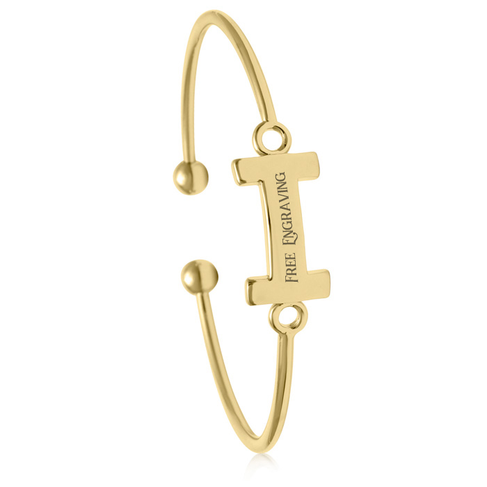 "FREE ENGRAVING ""I"" Initial Bangle Bracelet in Yellow Gold, 7 Inch"