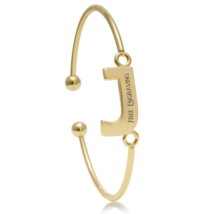 "FREE ENGRAVING ""J"" Initial Bangle Bracelet in Yellow Gold, 7 Inch"