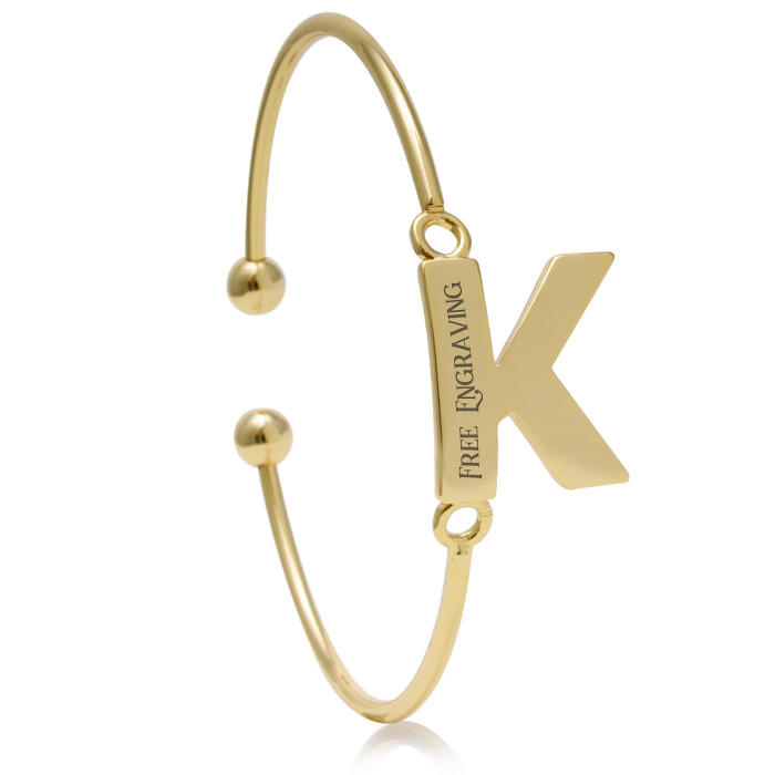 "FREE ENGRAVING ""K"" Initial Bangle Bracelet in Yellow Gold, 7 Inch"