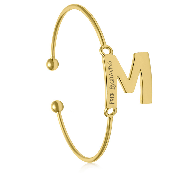 "FREE ENGRAVING ""M"" Initial Bangle Bracelet in Yellow Gold, 7 Inch by SuperJeweler"
