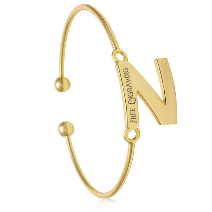 "FREE ENGRAVING ""N"" Initial Bangle Bracelet in Yellow Gold, 7 Inch"