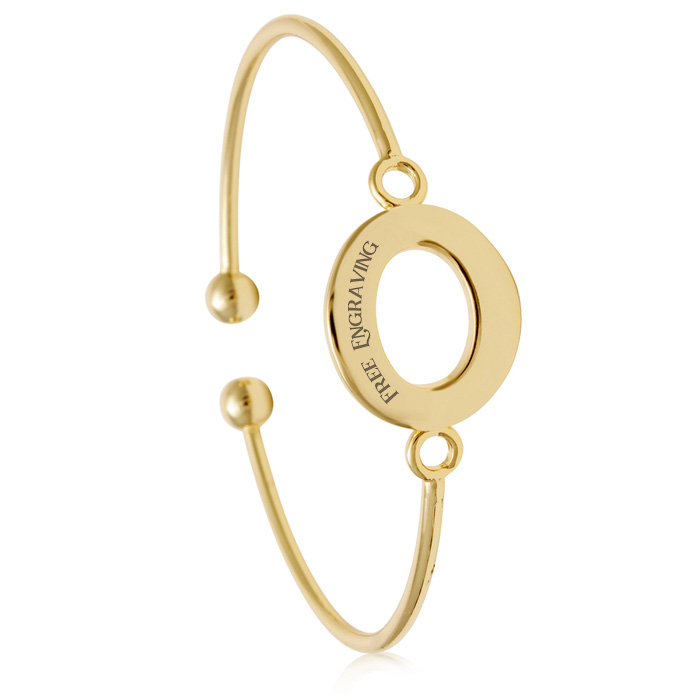 "FREE ENGRAVING ""O"" Initial Bangle Bracelet in Yellow Gold, 7 Inch"