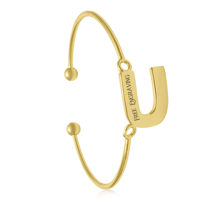"FREE ENGRAVING ""U"" Initial Bangle Bracelet in Yellow Gold, 7 Inch"