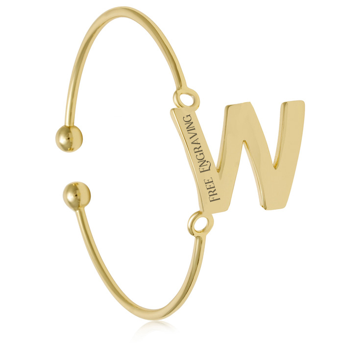 "FREE ENGRAVING ""W"" Initial Bangle Bracelet in Yellow Gold, 7 Inch"