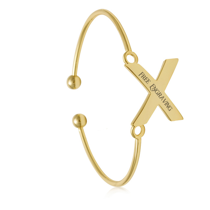 "FREE ENGRAVING ""X"" Initial Bangle Bracelet in Yellow Gold, 7 Inch"