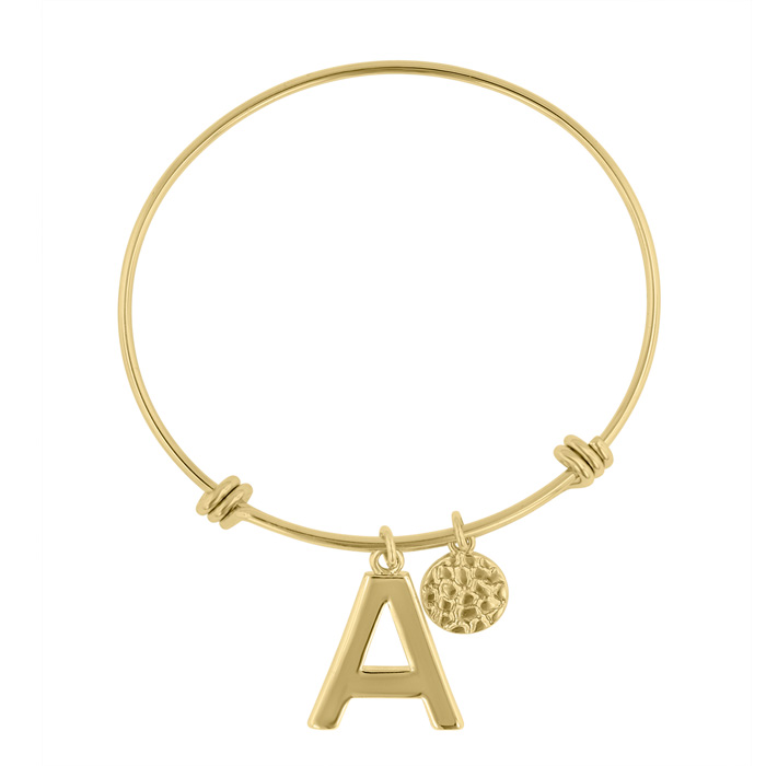 """A"" Initial Expandable Wire Bangle Bracelet in Yellow Gold, 7 Inch by SuperJeweler"