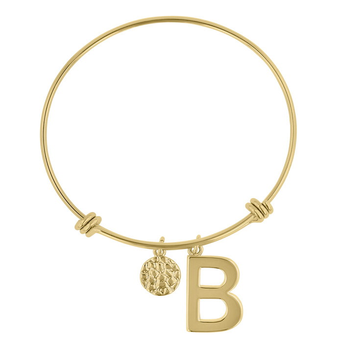 """B"" Initial Expandable Wire Bangle Bracelet in Yellow Gold, 7 Inc"