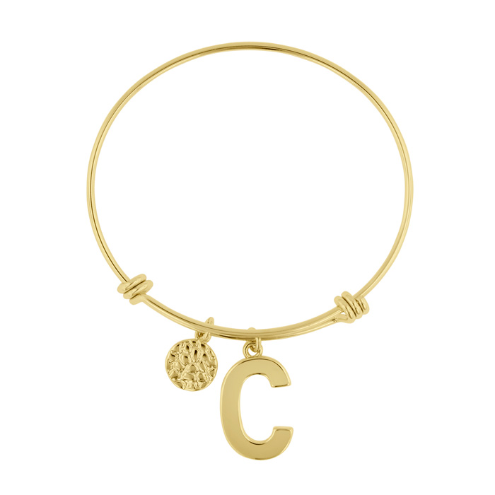 """C"" Initial Expandable Wire Bangle Bracelet in Yellow Gold, 7 Inc"