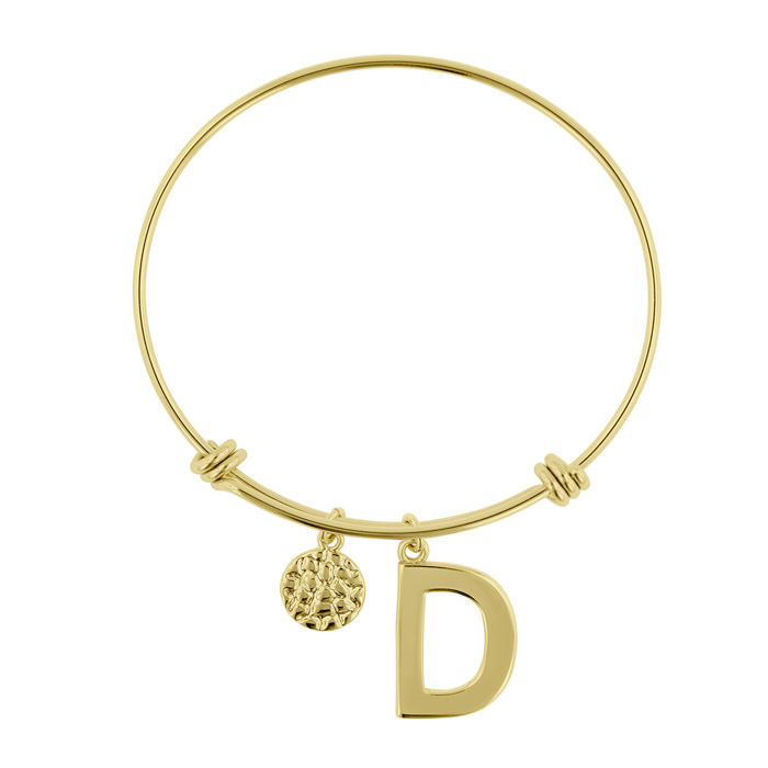 """D"" Initial Expandable Wire Bangle Bracelet in Yellow Gold, 7 Inc"