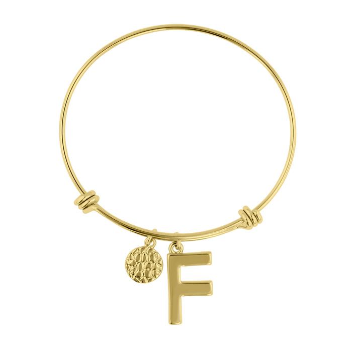 """F"" Initial Expandable Wire Bangle Bracelet in Yellow Gold, 7 Inc"