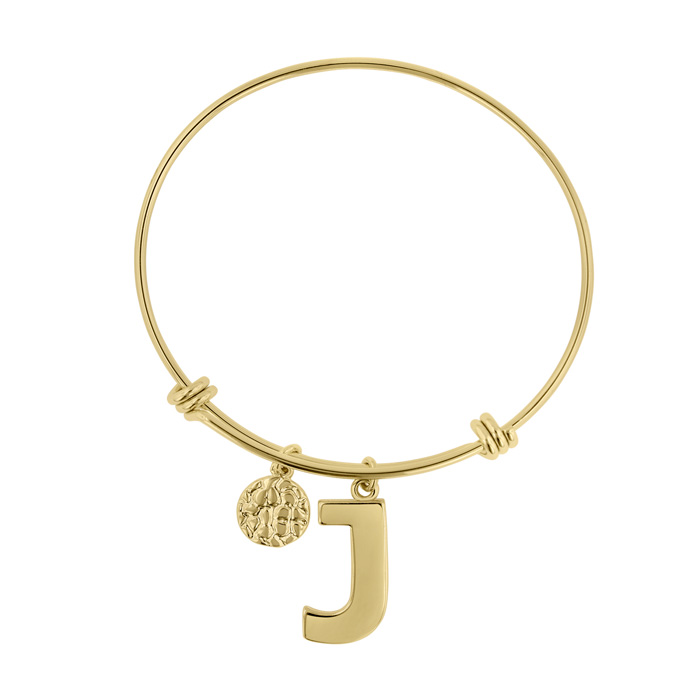 """J"" Initial Expandable Wire Bangle Bracelet in Yellow Gold, 7 Inc"