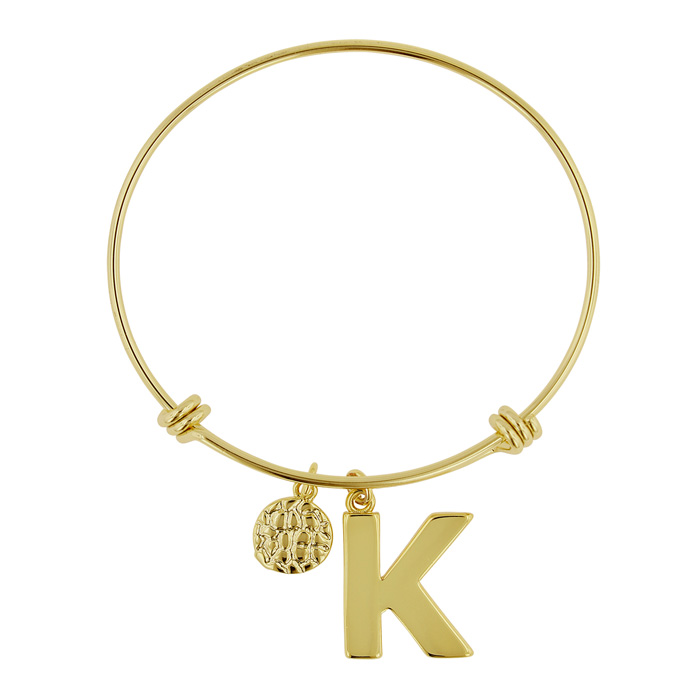 """K"" Initial Expandable Wire Bangle Bracelet in Yellow Gold, 7 Inc"