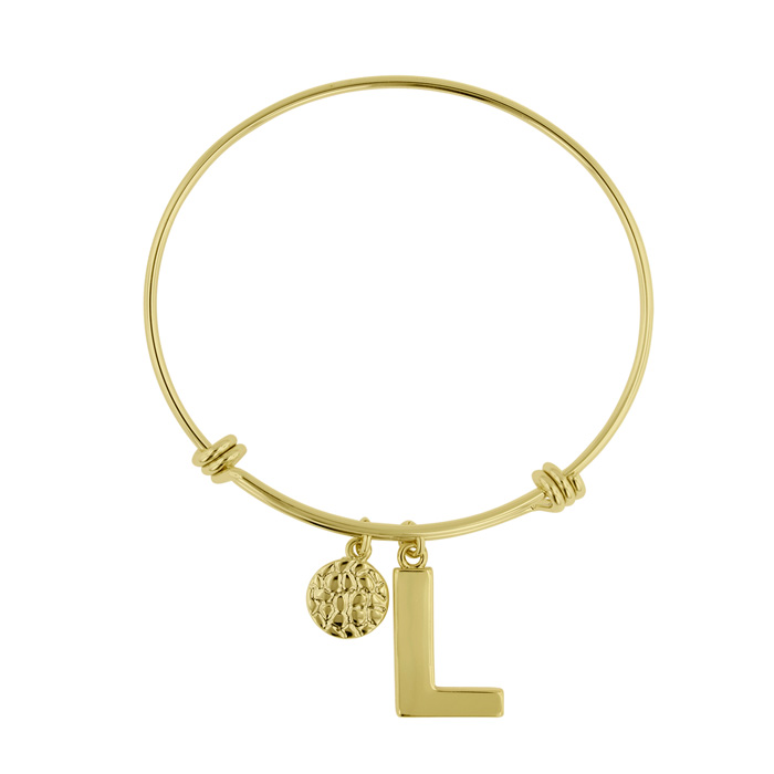 """L"" Initial Expandable Wire Bangle Bracelet in Yellow Gold, 7 Inc"