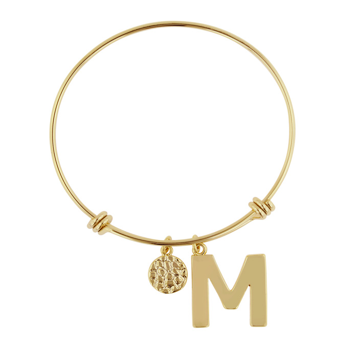 """M"" Initial Expandable Wire Bangle Bracelet in Yellow Gold, 7 Inc"