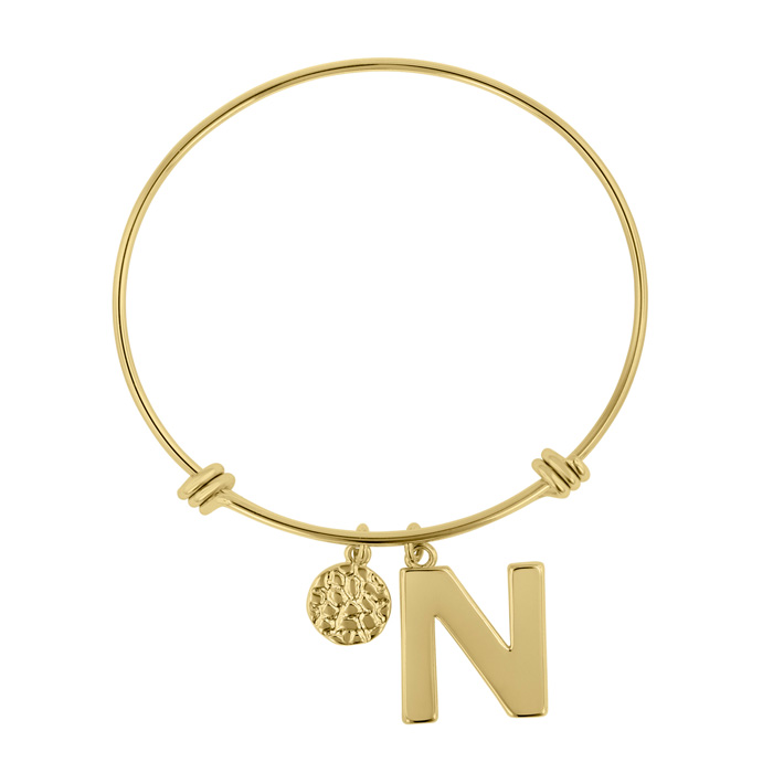 """N"" Initial Expandable Wire Bangle Bracelet in Yellow Gold, 7 Inc"