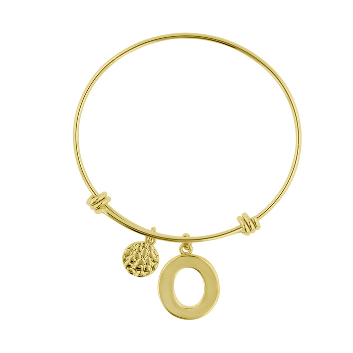 """O"" Initial Expandable Wire Bangle Bracelet in Yellow Gold, 7 Inc"