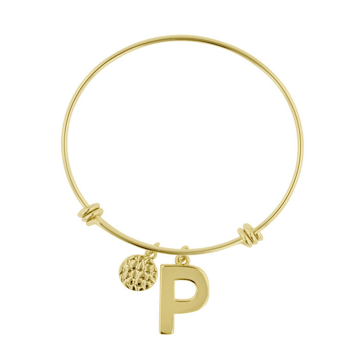 """P"" Initial Expandable Wire Bangle Bracelet in Yellow Gold, 7 Inch by SuperJeweler"