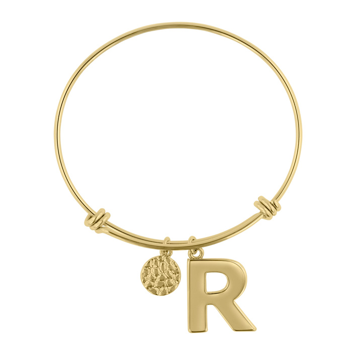 """R"" Initial Expandable Wire Bangle Bracelet in Yellow Gold, 7 Inc"