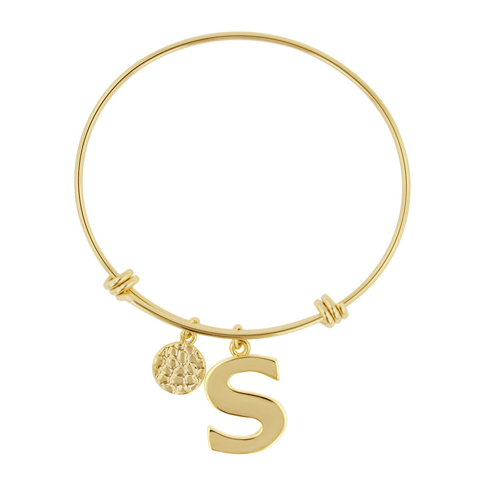 """S"" Initial Expandable Wire Bangle Bracelet in Yellow Gold, 7 Inc"
