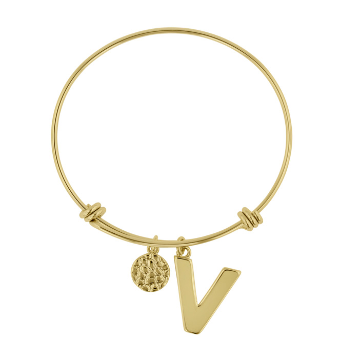 """V"" Initial Expandable Wire Bangle Bracelet in Yellow Gold, 7 Inc"