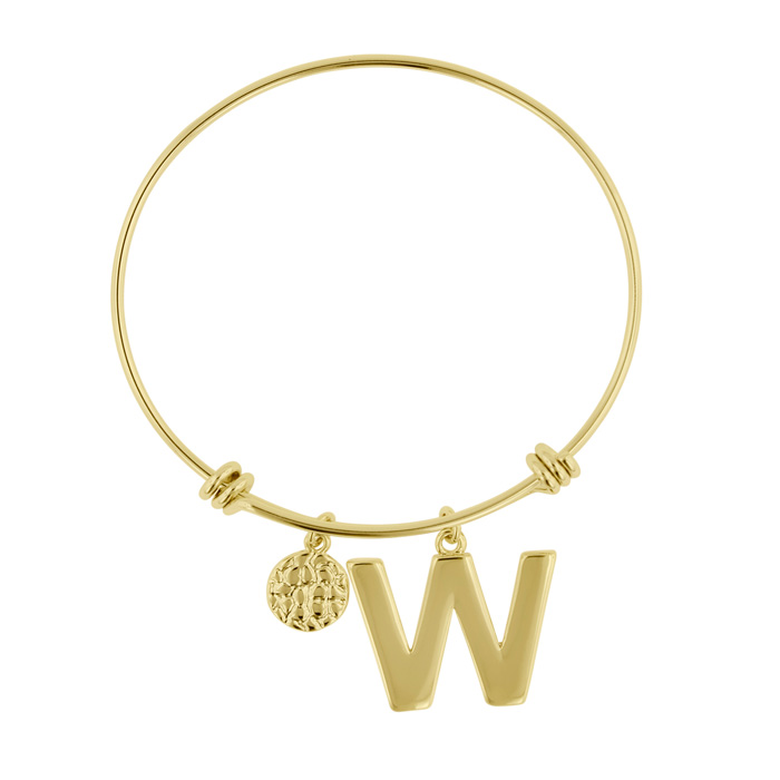 """W"" Initial Expandable Wire Bangle Bracelet in Yellow Gold, 7 Inc"