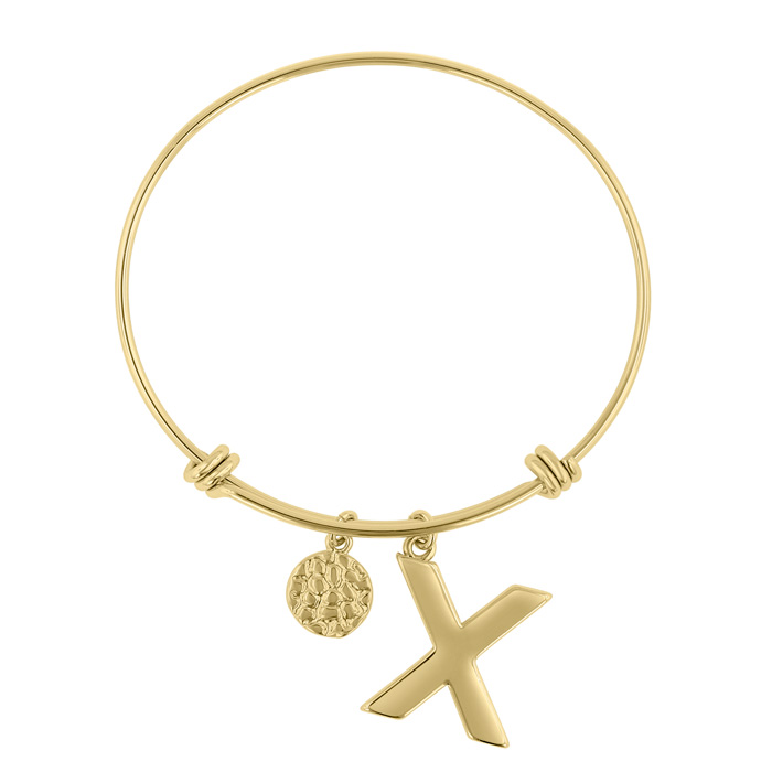 """X"" Initial Expandable Wire Bangle Bracelet in Yellow Gold, 7 Inch by SuperJeweler"