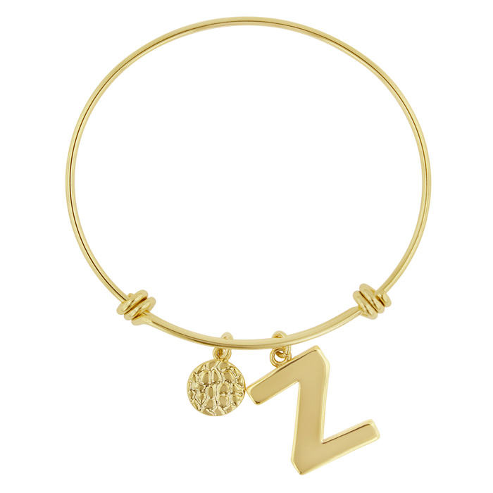 """Z"" Initial Expandable Wire Bangle Bracelet in Yellow Gold, 7 Inc"