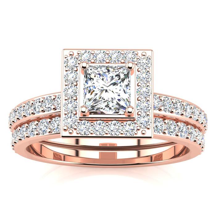 1 Carat Princess Cut Pave Halo Diamond Bridal Engagement Ring Set in 14k Rose Gold (H-I, SI2-I1) by SuperJeweler