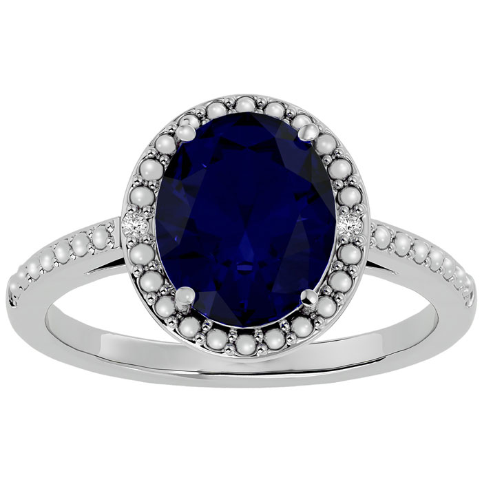 3 1/2 Carat Oval Shape Sapphire & Halo Diamond Ring in Sterling S