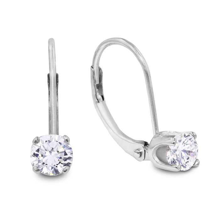 1/4 Carat Diamond Drop Earrings in 14k White Gold (1.1 g), J/K by