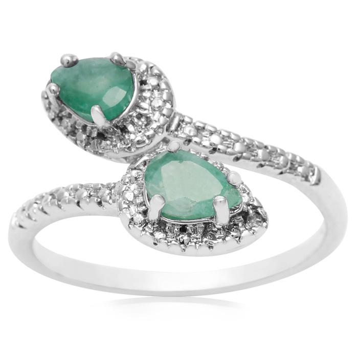 3/4 Carat Pear Shape Emerald Cut & Diamond Wrap Ring, J/K by Supe