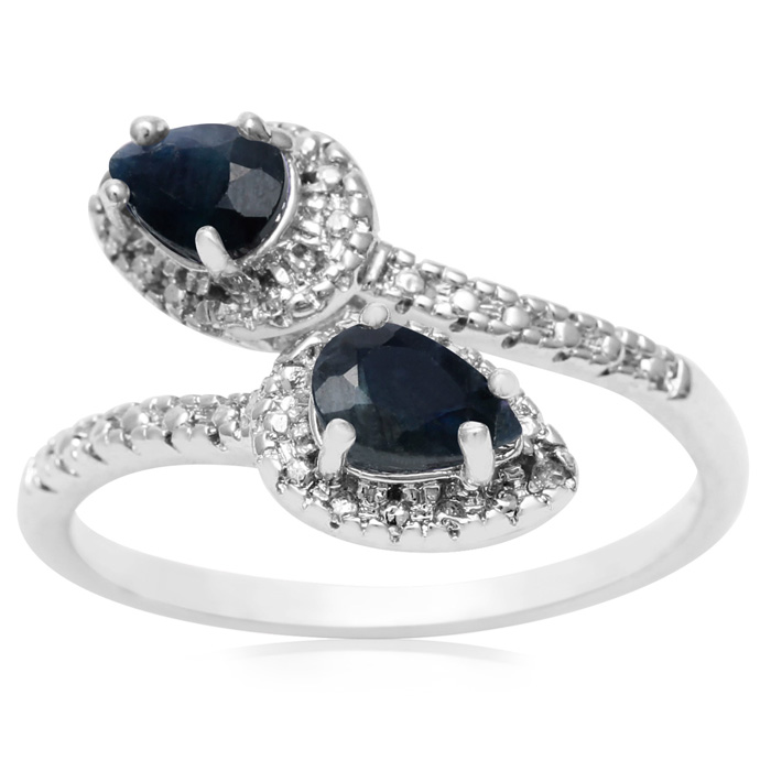 1ct Pear Shaped Sapphire and Diamond Wrap Ring